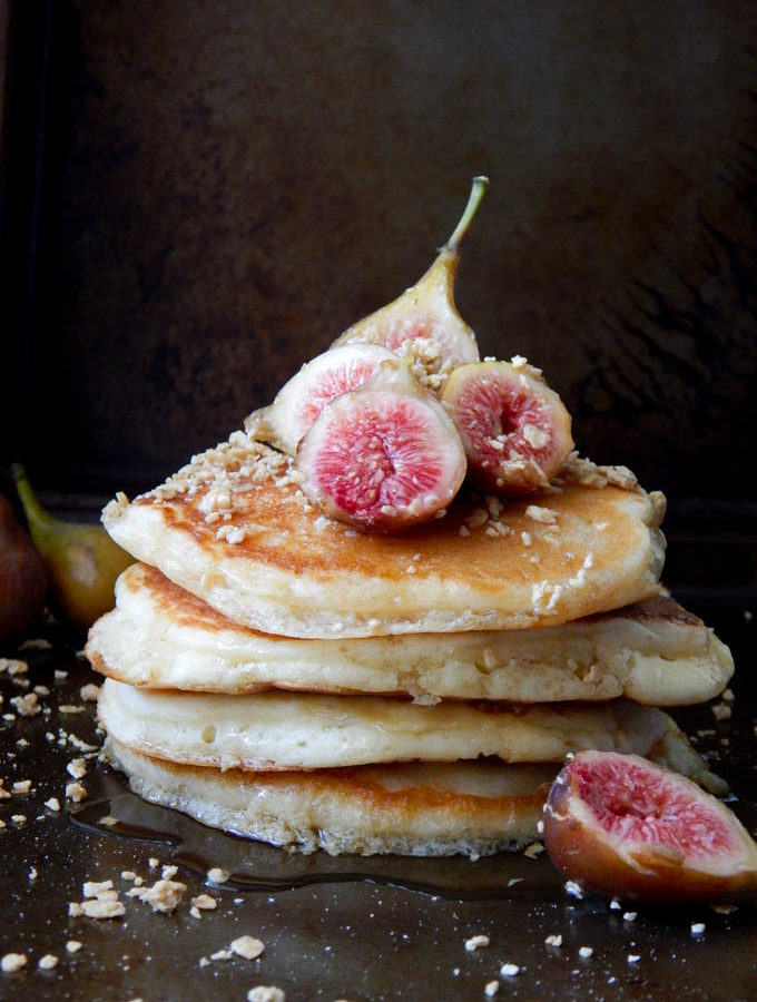 Fluffy Dairy Free Fig Pancakes